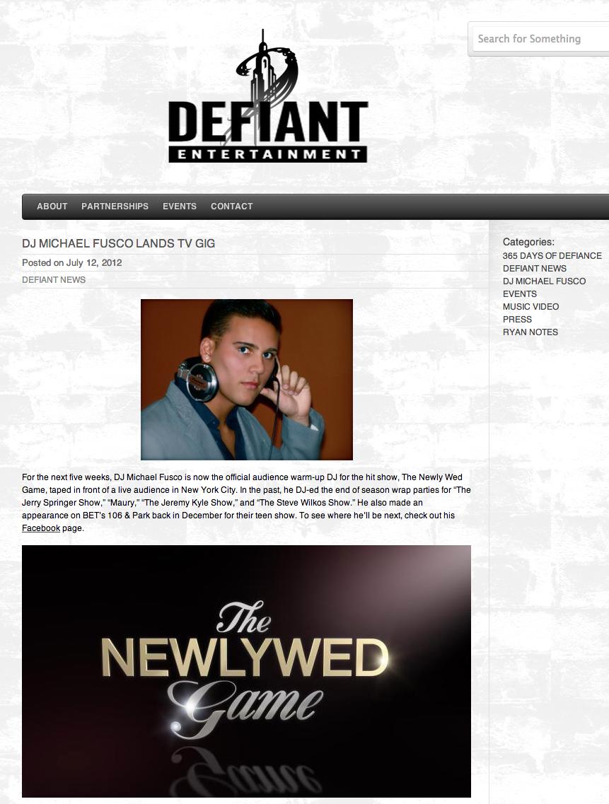 DJ MICHAEL FUSCO LANDS TV GIG « Defiant Entertainment